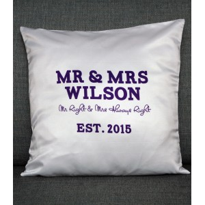 Mr and Mrs Cushion Cover